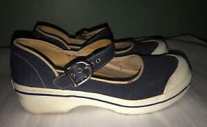 NICE! Dansko Vegan Valerie Navy Blue Canvas Mary Jane Clogs Size 38 7.5/8