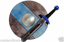 Small VIKING KIGHT BLUE Set: Sword 40cm and Shield 34cm Wooden Toy