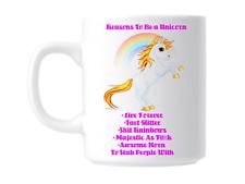 Funny Rude Reasons to be a unicorn Gift Mug Coffee Cup