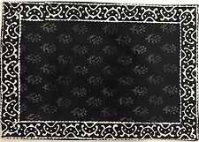 Handmade 100% Cotton Hand Block Print Floral Buti Placemat Table Linen 19x19
