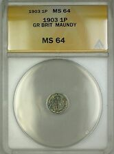 1903 Great Britain King Edward VII Maundy 1P Penny Silver Coin ANACS MS-64