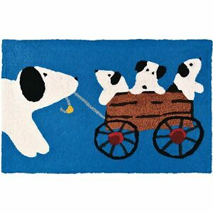 Puppy Ride Accent Rug Puppies in Wagon