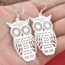 Vintage 925 Silver Hollow Owl Drop Dangle Hoop Earrings Women Girls Gift Jewelry
