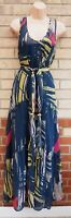 NEXT BLUE PINK YELLOW ABSTRACT ART BELTED SLEEVELESS SMOCK LONG MAXI DRESS 14