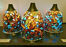 """Handmade Color-Changing 3-Glass Pendant Light Set """"RED CORAL SEA"""""""