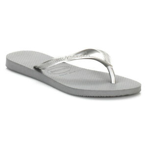 Havaianas Womens Steel Gray Slim Flip Flops