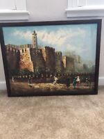 Vintage Oil Painting Middle East Cityscape Signed