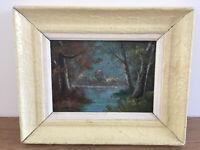 tableau ancien huile sur panneau B.ROBERT (début XXe-s) paysage