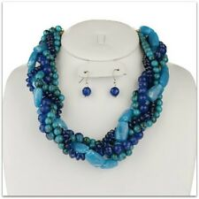 TANGLED BLUE BEAD & STONE MULTISTRAND STATEMENT NECKLACE & EARRING SET