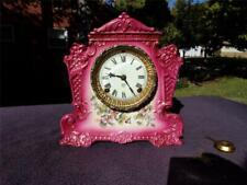 Ansonia Antique Red Porcelain China Shelf Mantle Clock Painted Floral Scene Runs