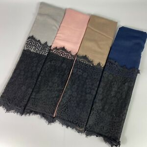 Plain Gold Lace Sparkle Scarf Hijab Sarong Large Cotton Maxi Shawl Wrap Maxi