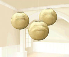 Gold Paper Lanterns Golden Hanging Decorations Party Supplies 3ct ~ Wedding