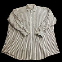 Brooks Brothers Men's 17.5-33 Long Sleeve Dress Shirt Vertical Stripe Blue White