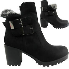 NEW WOMENS LADIES MID BLOCK HEEL FUR LINED BUCKLE STRAP BIKER ANKLE BOOTS SIZE