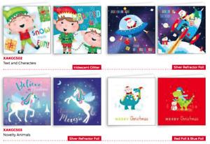 20 Kids Christmas Cards - Elves / Santa in Space / Santa on Dinosaure / Unicorn