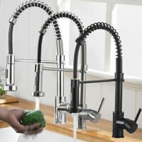 Commercial Kitchen Sink Faucet Spring Pull Down Sprayer Single Handle Mixer Tap