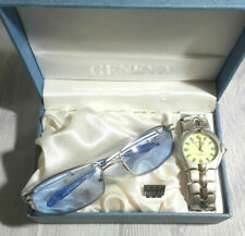 Geneva Watch Men Silver Stainless  Water Resistant  Quartz with Glasses Set