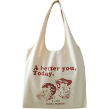 Cotton Eco Shopping Tote Shoulder Bag Wine Red or Brown Printing A Better For  S