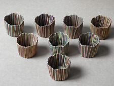 (Set Of 8) Multi-Colored Straw Woven Cup / Glass Holders, Japan