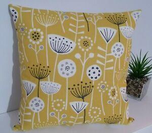 "18"" Cushion Cover Bergen Ochre grey and White Scandi Flowers"