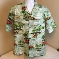 Royal Creations Hawaiian Aloha Camp Shirt Mens Large Palms Waves Free Shipping!