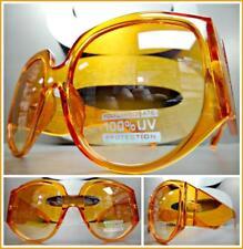 OVERSIZED EXAGGERATED RETRO Style SUN GLASSES Super Thick XL Orange Frame & Lens