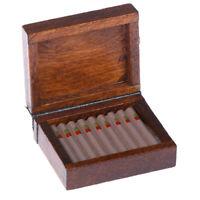 1Pc 1:12 Dollhouse accessories miniature wooden cigar cigarette box humidor w/