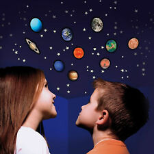 3D Glow in the Dark Planets stickers, solar system, kids room, glow, stars