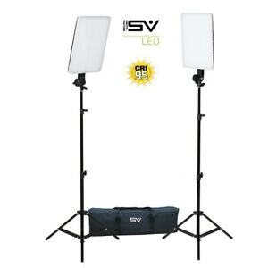 Smith Victor SlimPanel 800 Watt Daylight LED 2 Light Kit with Stands and Case