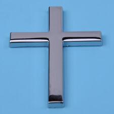 Silver Metal 3D Jesus Christian Cross Side Body Emblem Badge Sticker Decal
