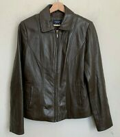 Sonoma Womens Lambskin Brown Leather Jacket Zip Front Pockets Lined Size S