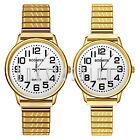 Men Women Classic Easy Reader Dial Stretch Band Watch Analog Quartz Wristwatch