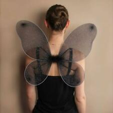 LADIES BLACK NET FAIRY WINGS WITH SILVER GLITTER FANCY DRESS PARTY ACCESSORIES