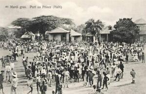 HAITI c1910 Postcard (unused) MARDI GRAS SCENE PORT AU PRINCE Pharmacie Centrale