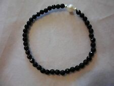 Black Onyx Roundel Bead & Freshwater Pearl Bracelet w/925 Sterling Accents-12CTW