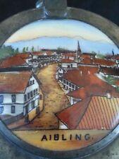 Antique German hand painted lidded glass beer stein bierkrug Aibling