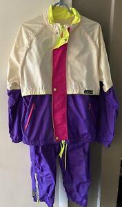 Gore Tex Insport Womens 2 Pc Wind Jog Running Suit Jacket Pants Color Block SZ L