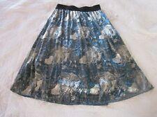 Lularoe Womens Skirt XS Lola Blue/Silver Metallic Print