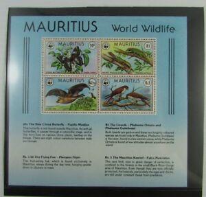 Scarce Mauritius SC #472a  WORLD WILDLIFE Fox Kestrel Butterfly Lizard MNH sheet