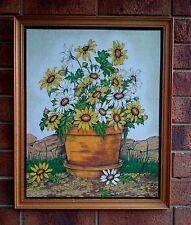 VINTAGE RETRO WALL ART DAISIES IN POT DAISY HOBBYTEX 1979 WOOD FRAME FELT