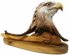 "New Rick Cain Original Wood Bald Eagle Sculpture ""Long Feather"""