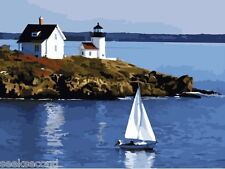 Framed Paint by Number Kit Quiet Bay White lighthouse Sailboat Sailing ZY7016