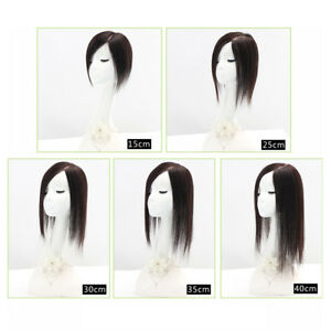 9*14cm Hand Made Topper Hairpiece Clip in Human Hair Straight Hair Top Toupee