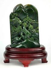 Natural Green Nephrite Jade Plum Flower & Bird Statue Sculpture Carving