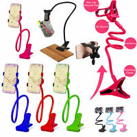 Lazy Bed Desk Adjustable Mount Holder Car Clip Stand For any Cell Phone Long Arm
