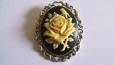 Black and Cream Rose Brooch Medieval Pin Pagan Gothic Black Cameo Wedding