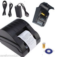 USB 58mm POS Printer 384 Line Thermal Dot Receipt Printer Set w/Roll Paper Black