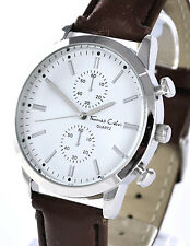 Thomas Calvi Mens Smart Casual Watch with White Dial & Brown Faux leather Strap