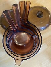 Vintage 6 Pc Corning Ware Visions Amber Visions Cookware Set