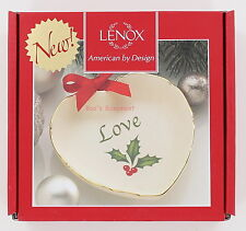"""New Lenox Holiday Sentiment Heart Dish - Love with Holly - 4"""""""